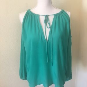 New H & M Green Sheer Cold Shoulder Top